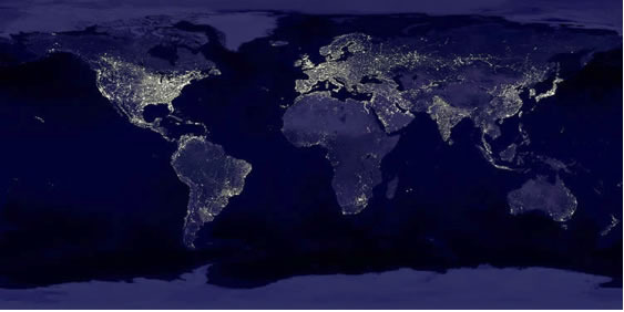 image of the world showing lighting intensity